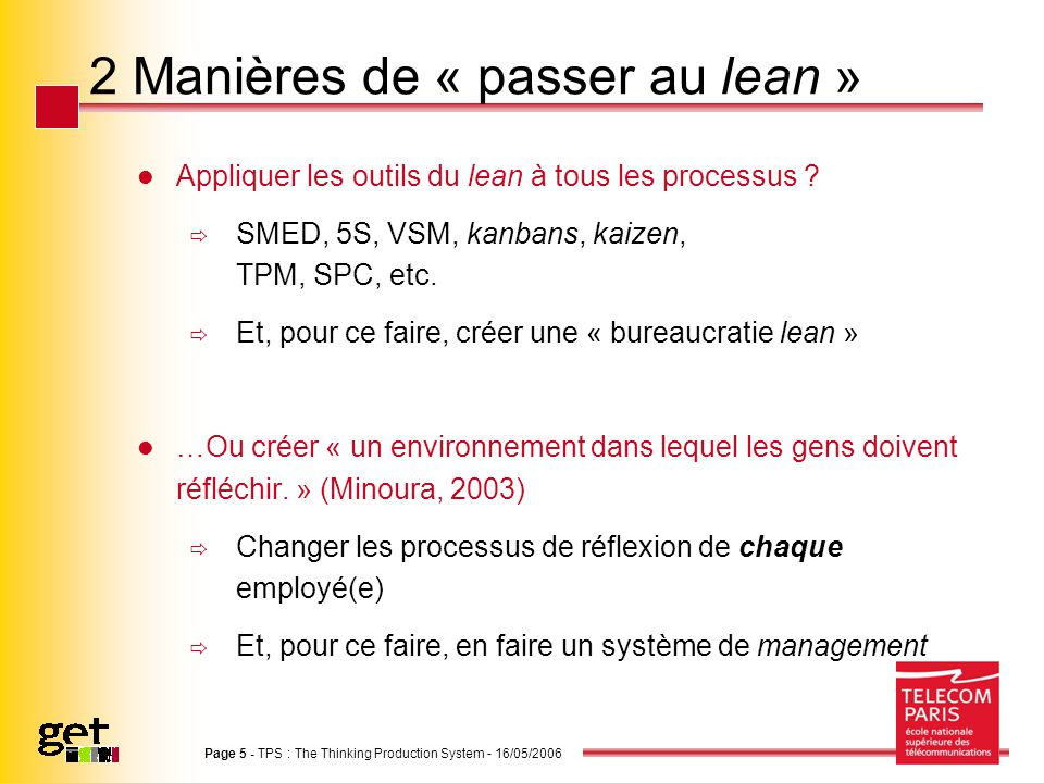 Page 5 - TPS : The Thinking Production System - 16/05/2006 2 Manières de « passer au lean » Appliquer les outils du lean à tous les processus .
