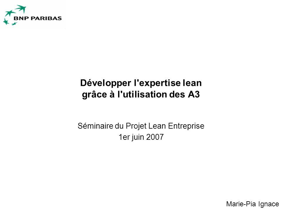 1 Développer l expertise lean grâce à l utilisation des A3 Séminaire du Projet Lean Entreprise 1er juin 2007 Marie-Pia Ignace