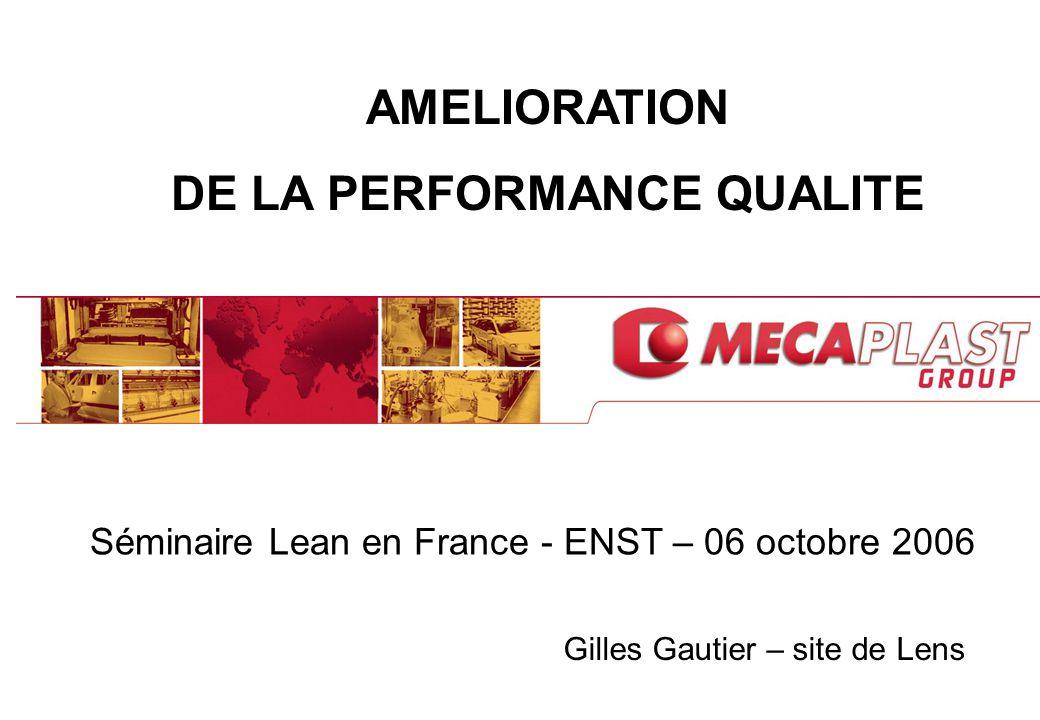 1 AMELIORATION DE LA PERFORMANCE QUALITE Gilles Gautier – site de Lens Séminaire Lean en France - ENST – 06 octobre 2006