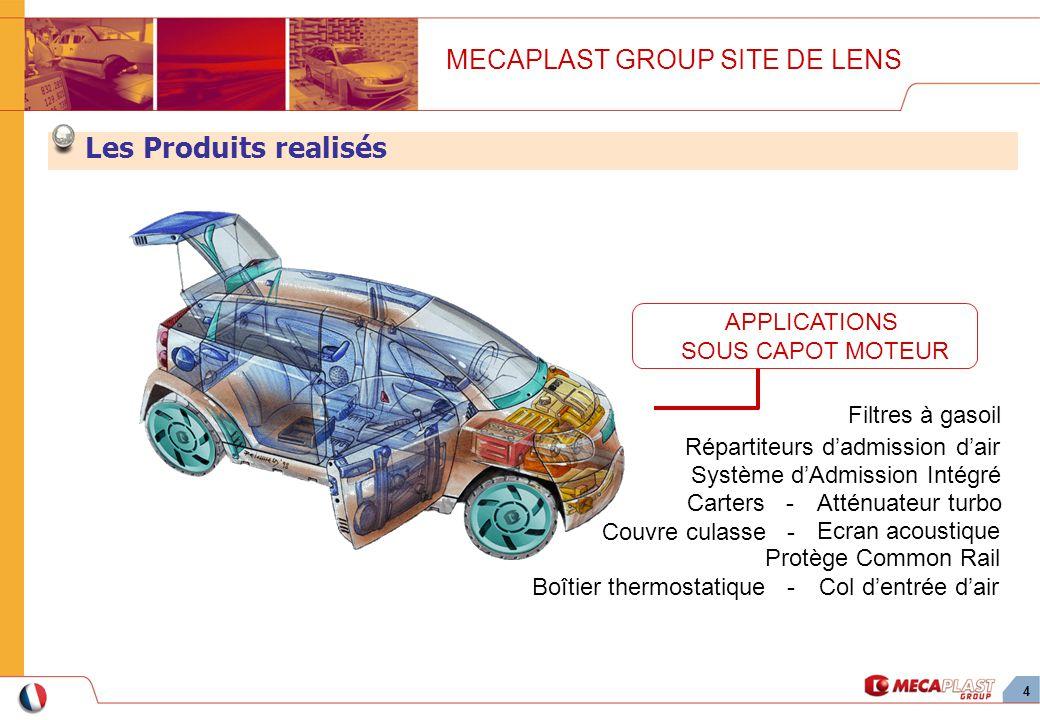4 Les Produits realisés MECAPLAST GROUP SITE DE LENS Carters - Répartiteurs dadmission dair Filtres à gasoil Atténuateur turbo Système dAdmission Inté