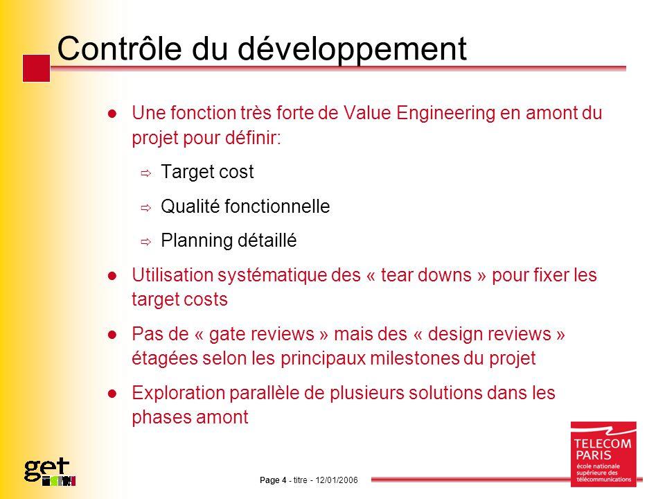 Page 4 - titre - 12/01/2006 Contrôle du développement Une fonction très forte de Value Engineering en amont du projet pour définir: Target cost Qualit