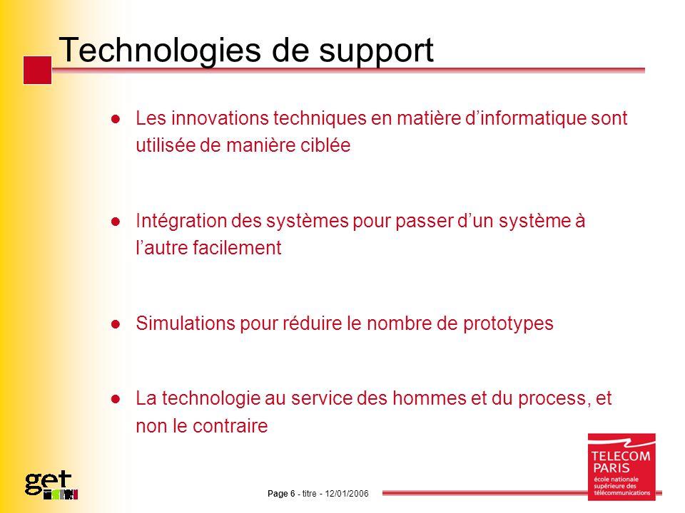 Page 6 - titre - 12/01/2006 Technologies de support Les innovations techniques en matière dinformatique sont utilisée de manière ciblée Intégration de