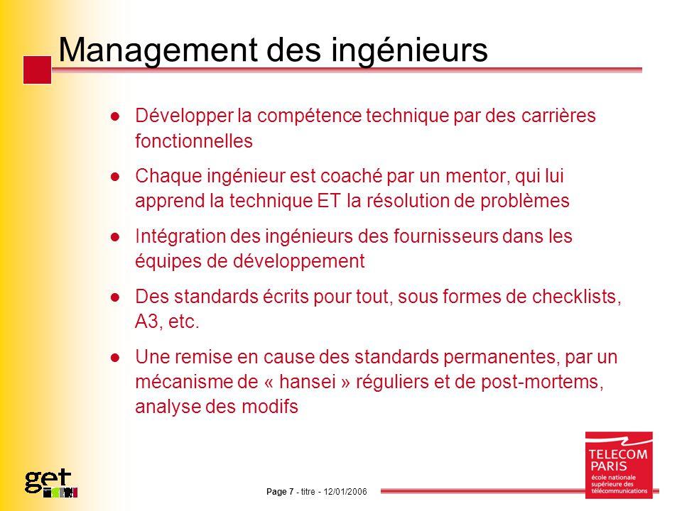 Page 7 - titre - 12/01/2006 Management des ingénieurs Développer la compétence technique par des carrières fonctionnelles Chaque ingénieur est coaché