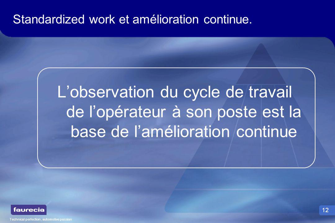 Technical perfection, automotive passion 12 Standardized work et amélioration continue. Lobservation du cycle de travail de lopérateur à son poste est