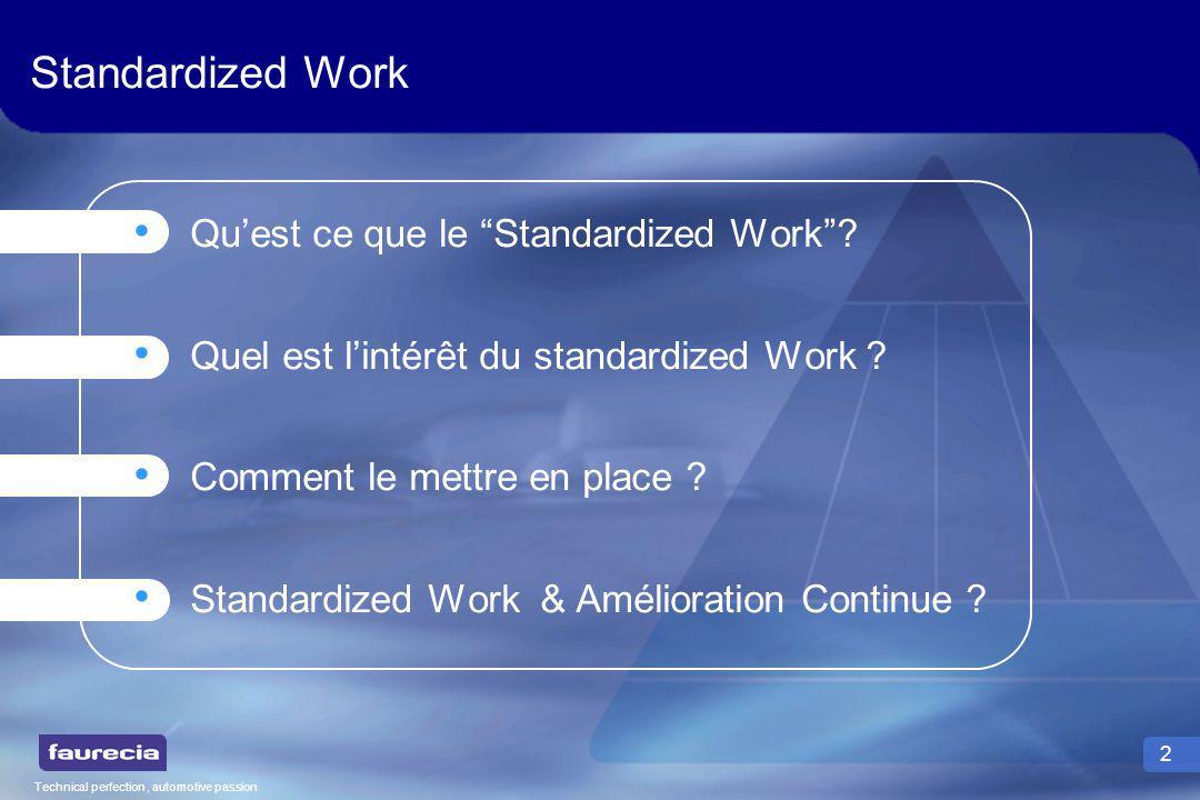Technical perfection, automotive passion 3 Quest ce que le Standardized Work .
