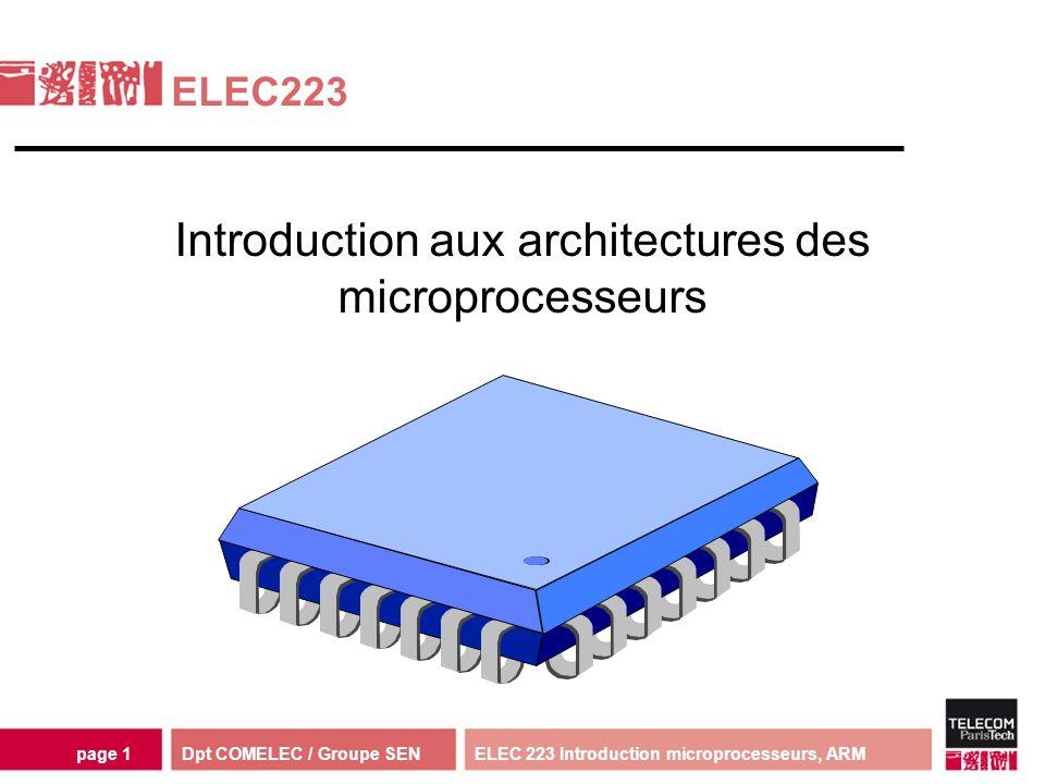 Dpt COMELEC / Groupe SENELEC 223 Introduction microprocesseurs, ARMpage 2 Traitement logiciel instructions données processeur Intérêts : Flexibilité Temps de développement