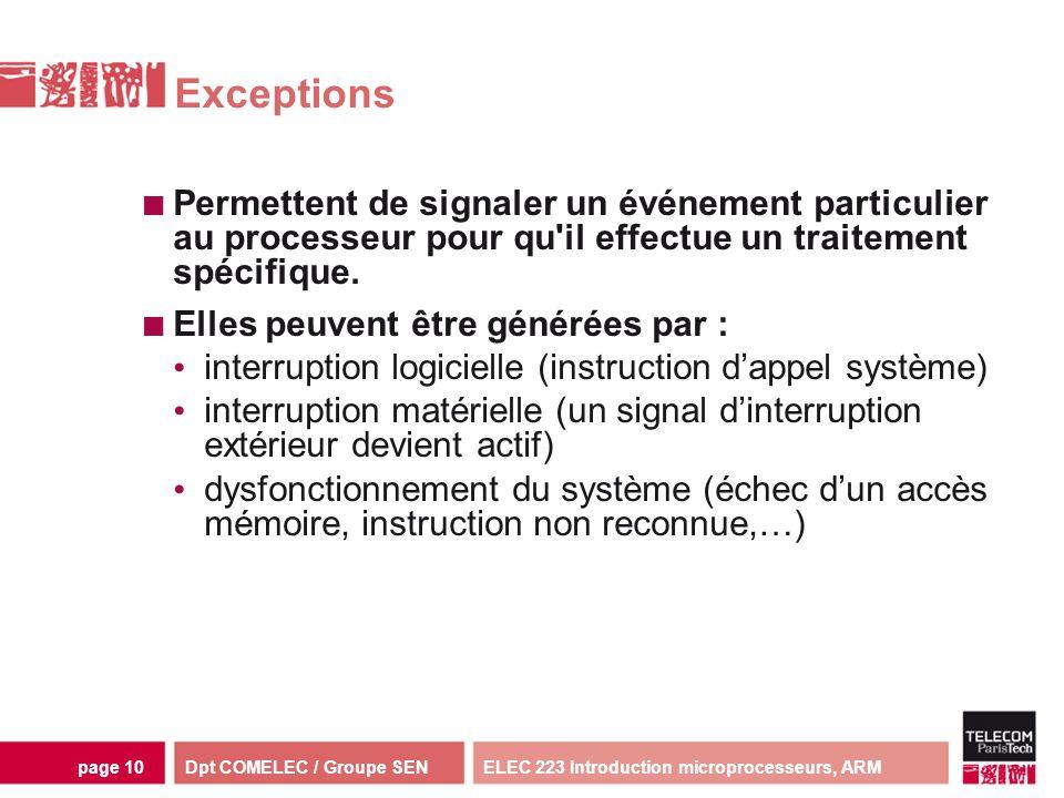 Dpt COMELEC / Groupe SENELEC 223 Introduction microprocesseurs, ARMpage 10 Exceptions Permettent de signaler un événement particulier au processeur po
