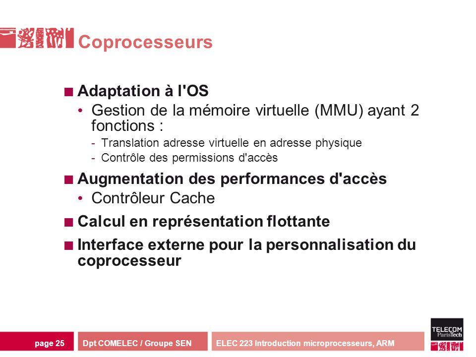 Dpt COMELEC / Groupe SENELEC 223 Introduction microprocesseurs, ARMpage 25 Coprocesseurs Adaptation à l'OS Gestion de la mémoire virtuelle (MMU) ayant