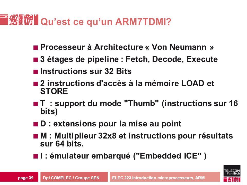 Dpt COMELEC / Groupe SENELEC 223 Introduction microprocesseurs, ARMpage 39 Quest ce quun ARM7TDMI? Processeur à Architecture « Von Neumann » 3 étages