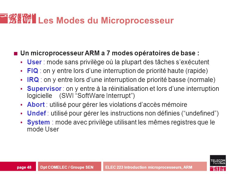 Dpt COMELEC / Groupe SENELEC 223 Introduction microprocesseurs, ARMpage 48 Les Modes du Microprocesseur Un microprocesseur ARM a 7 modes opératoires d