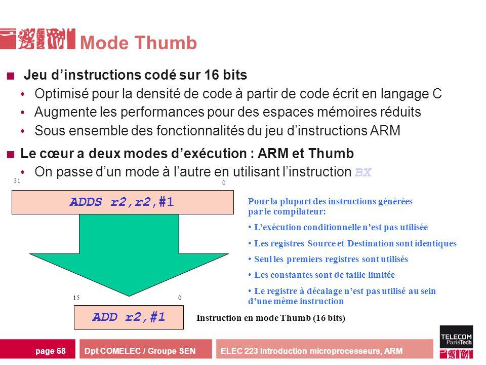 Dpt COMELEC / Groupe SENELEC 223 Introduction microprocesseurs, ARMpage 68 Mode Thumb Jeu dinstructions codé sur 16 bits Optimisé pour la densité de c