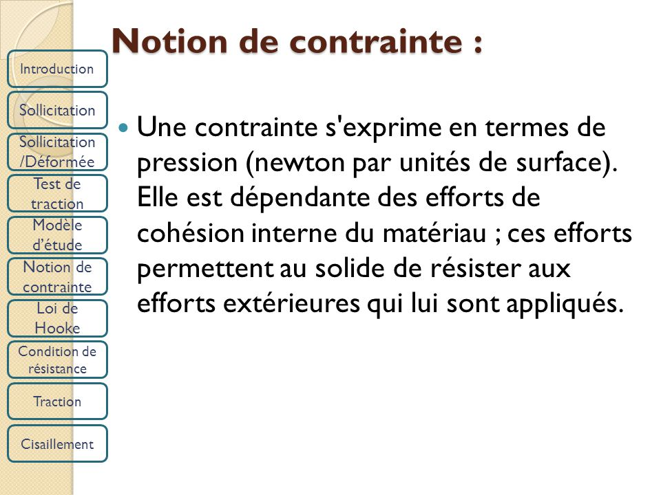 Introduction Sollicitation /Déformée Test de traction Modèle détude Notion de contrainte Loi de Hooke Condition de résistance Traction Cisaillement No