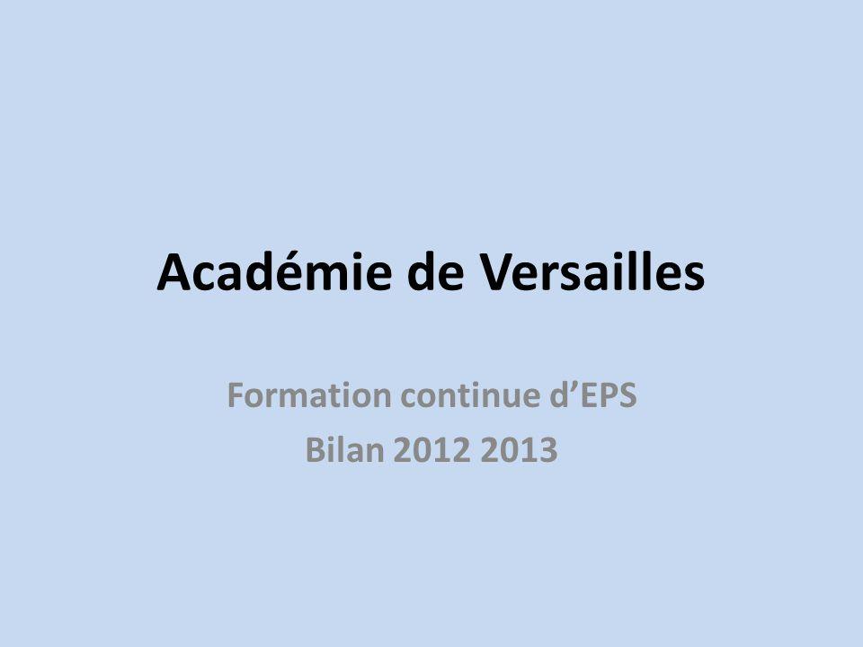 Académie de Versailles Formation continue dEPS Bilan 2012 2013