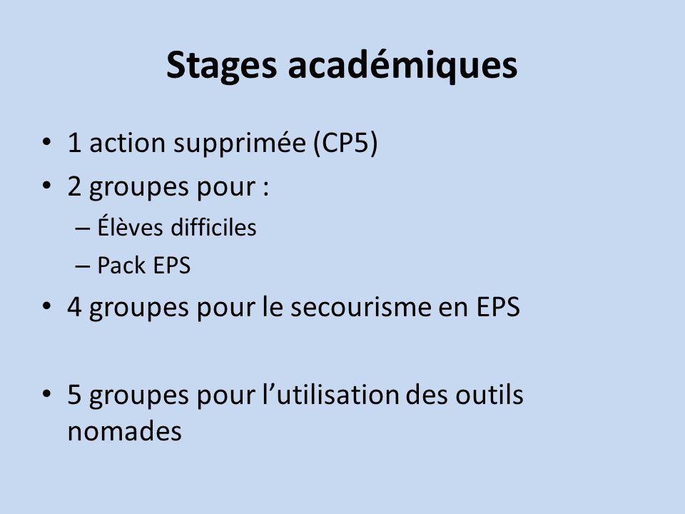 Stages académiques 1 action supprimée (CP5) 2 groupes pour : – Élèves difficiles – Pack EPS 4 groupes pour le secourisme en EPS 5 groupes pour lutilisation des outils nomades