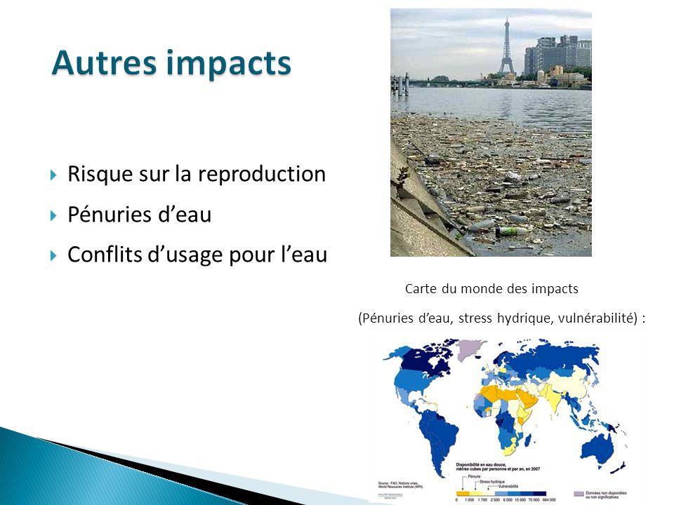Risque sur la reproduction Pénuries deau Conflits dusage pour leau Carte du monde des impacts (Pénuries deau, stress hydrique, vulnérabilité) :