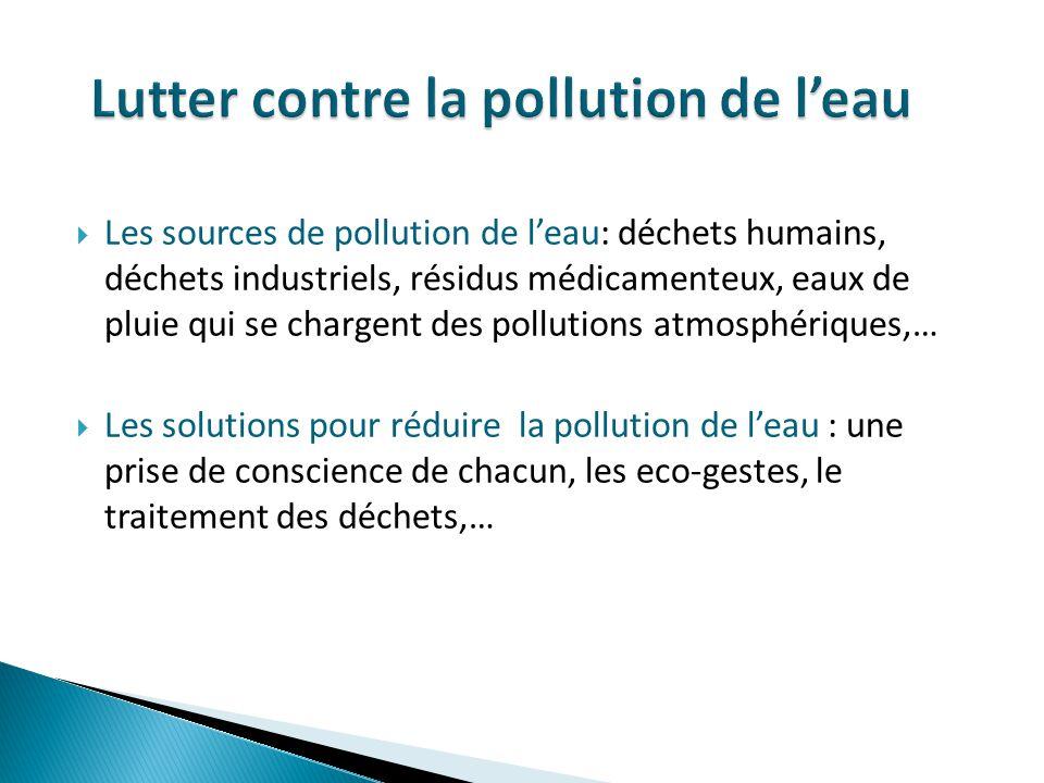Les sources de pollution de leau: déchets humains, déchets industriels, résidus médicamenteux, eaux de pluie qui se chargent des pollutions atmosphéri