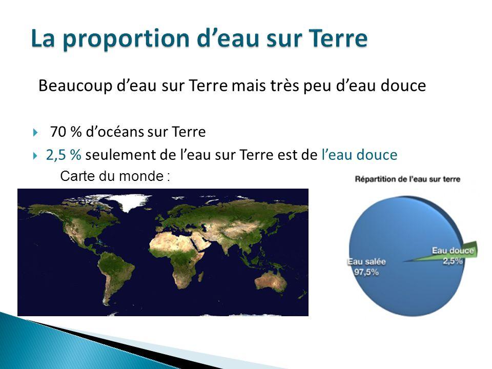 Beaucoup deau sur Terre mais très peu deau douce 70 % docéans sur Terre 2,5 % seulement de leau sur Terre est de leau douce Carte du monde :