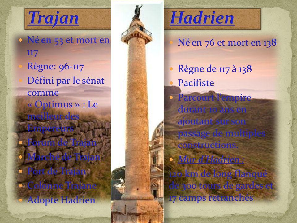 Né en 53 et mort en 117 Règne: 96-117 Défini par le sénat comme « Optimus » : Le meilleur des Empereurs Forum de Trajan Marché de Trajan Port de Traja