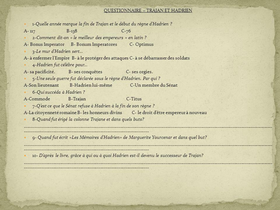 QUESTIONNAIRE – TRAJAN ET HADRIEN 1-Quelle année marque la fin de Trajan et le début du règne dHadrien ? A- 117 B-138 C-76 2-Comment dit-on « le meill