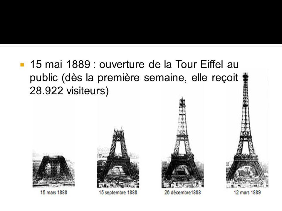15 mai 1889 : ouverture de la Tour Eiffel au public (dès la première semaine, elle reçoit 28.922 visiteurs)