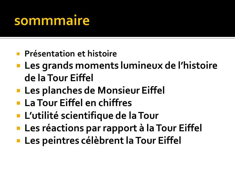 Présentation et histoire Les grands moments lumineux de lhistoire de la Tour Eiffel Les planches de Monsieur Eiffel La Tour Eiffel en chiffres Lutilit