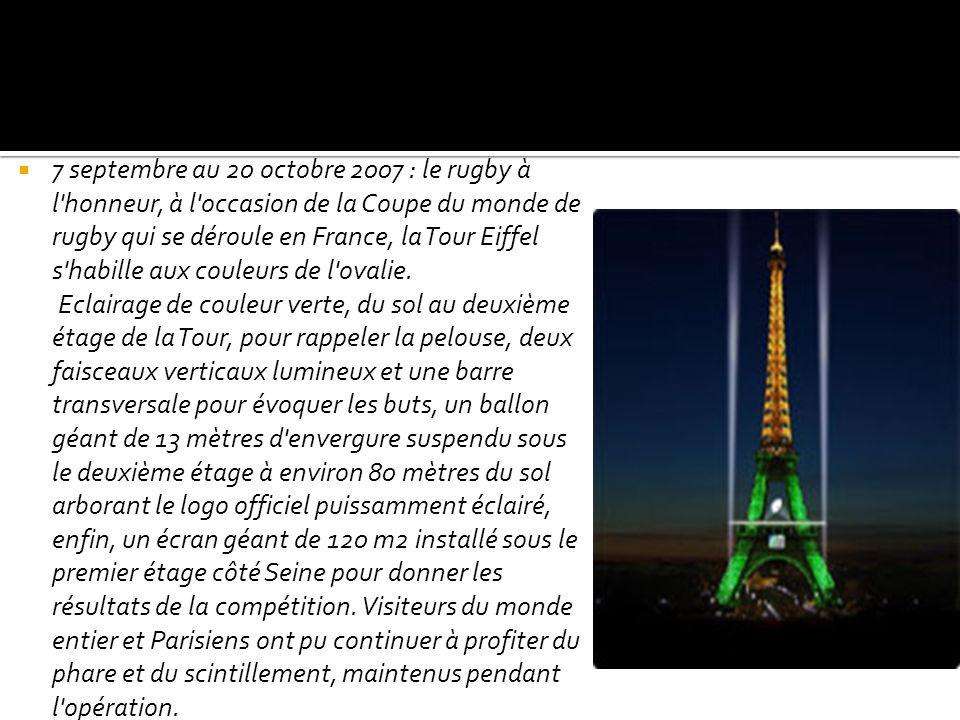 7 septembre au 20 octobre 2007 : le rugby à l'honneur, à l'occasion de la Coupe du monde de rugby qui se déroule en France, la Tour Eiffel s'habille a