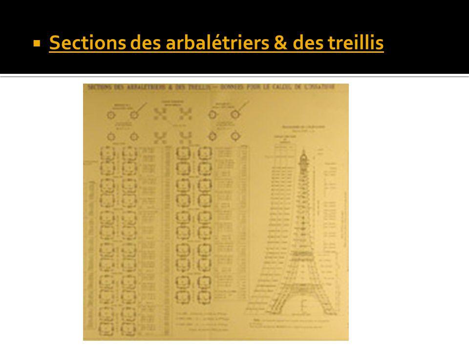 Sections des arbalétriers & des treillis