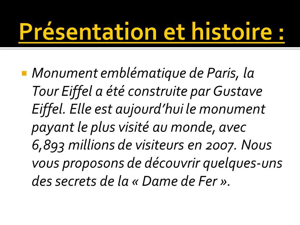 Monument emblématique de Paris, la Tour Eiffel a été construite par Gustave Eiffel. Elle est aujourdhui le monument payant le plus visité au monde, av