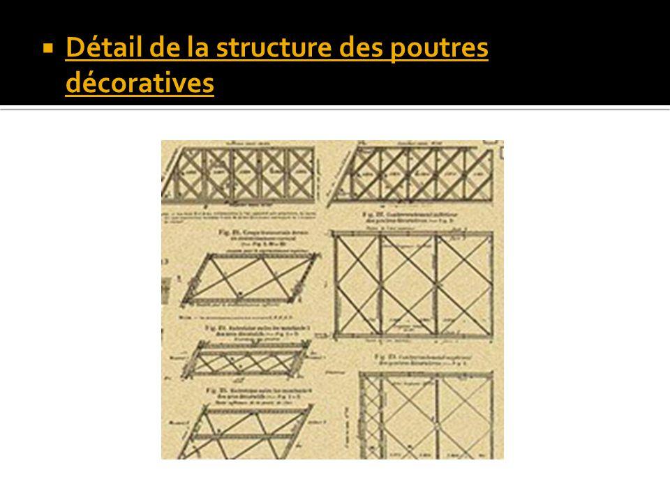 Détail de la structure des poutres décoratives