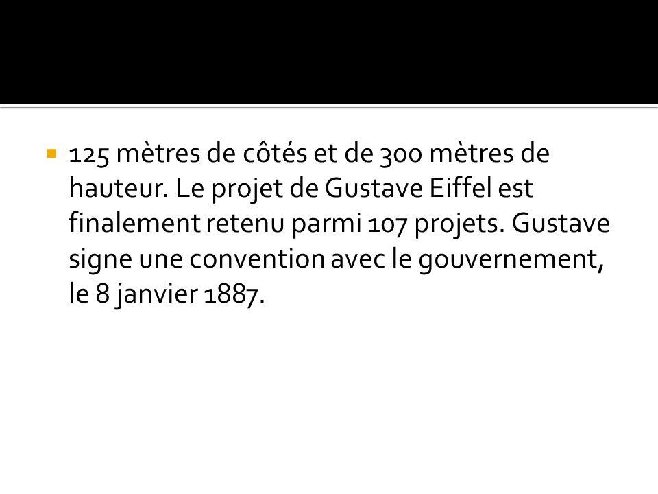 125 mètres de côtés et de 300 mètres de hauteur. Le projet de Gustave Eiffel est finalement retenu parmi 107 projets. Gustave signe une convention ave