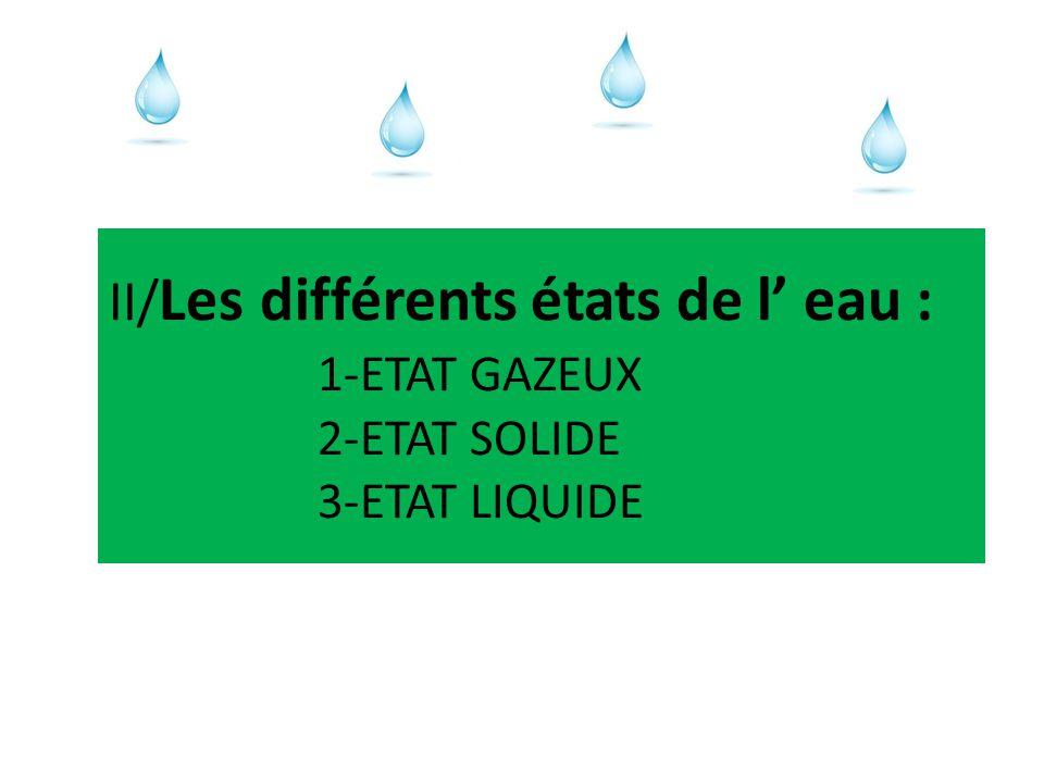 LES ETATS DE LEAU Leau peut être observée sous différents états : 1 – Etat gazeux 2 – Etat solide 3 – Etat liquide http://e.m.c.2.free.fr/changt.htm