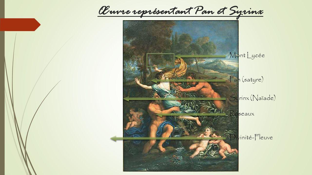 Œuvre représentant Pan et Syrinx Mont Lycée Pan (satyre) Syrinx (Naïade) Roseaux Divinité-Fleuve