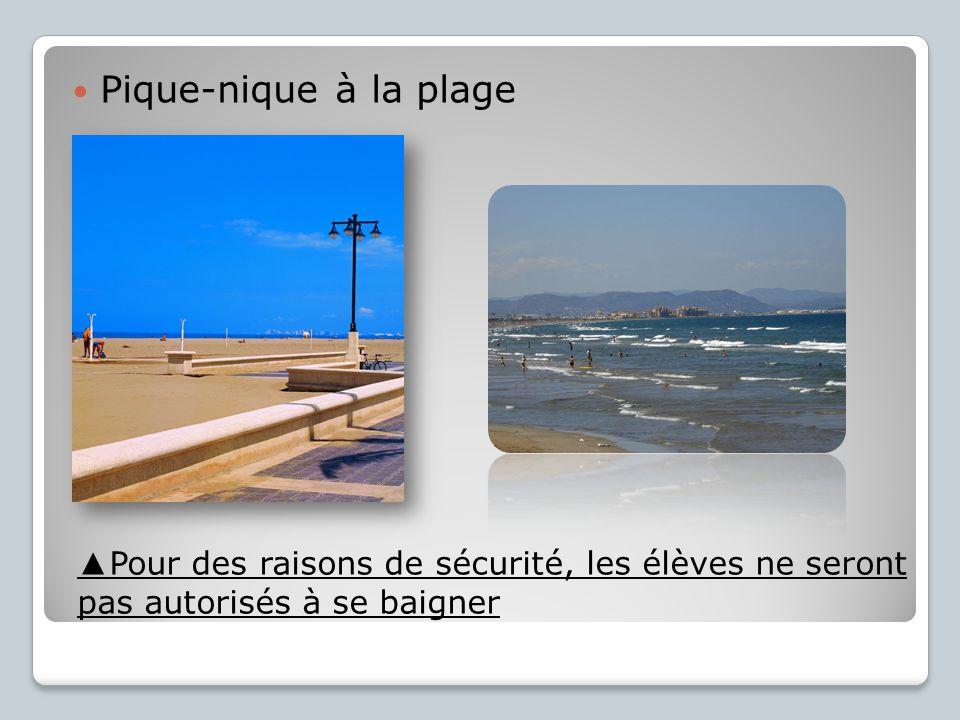 Pique-nique à la plage Pour des raisons de sécurité, les élèves ne seront pas autorisés à se baigner