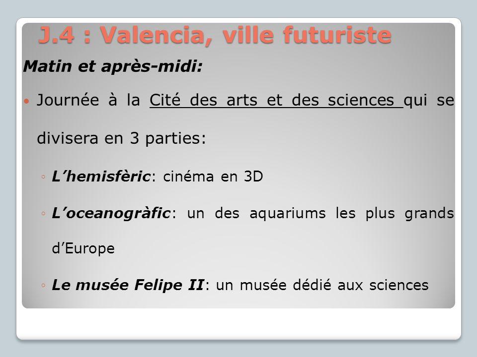 Matin et après-midi: Journée à la Cité des arts et des sciences qui se divisera en 3 parties: Lhemisfèric: cinéma en 3D Loceanogràfic: un des aquarium