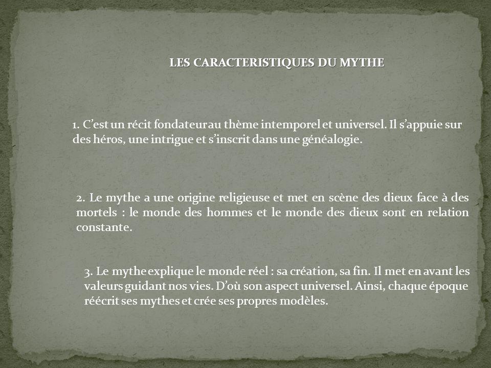 LES CARACTERISTIQUES DU MYTHE 1.Cest un récit fondateur au thème intemporel et universel.
