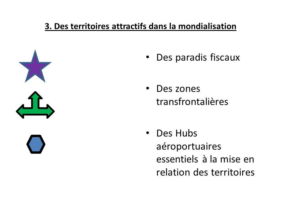 3. Des territoires attractifs dans la mondialisation Des paradis fiscaux Des zones transfrontalières Des Hubs aéroportuaires essentiels à la mise en r