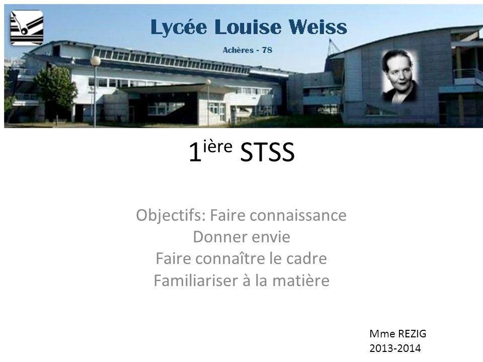 1 ière STSS Objectifs: Faire connaissance Donner envie Faire connaître le cadre Familiariser à la matière Mme REZIG 2013-2014