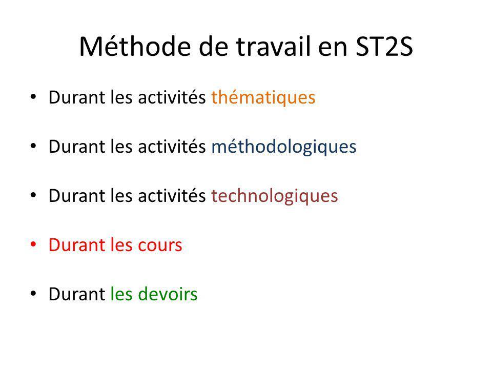Méthode de travail en ST2S Durant les activités thématiques Durant les activités méthodologiques Durant les activités technologiques Durant les cours Durant les devoirs