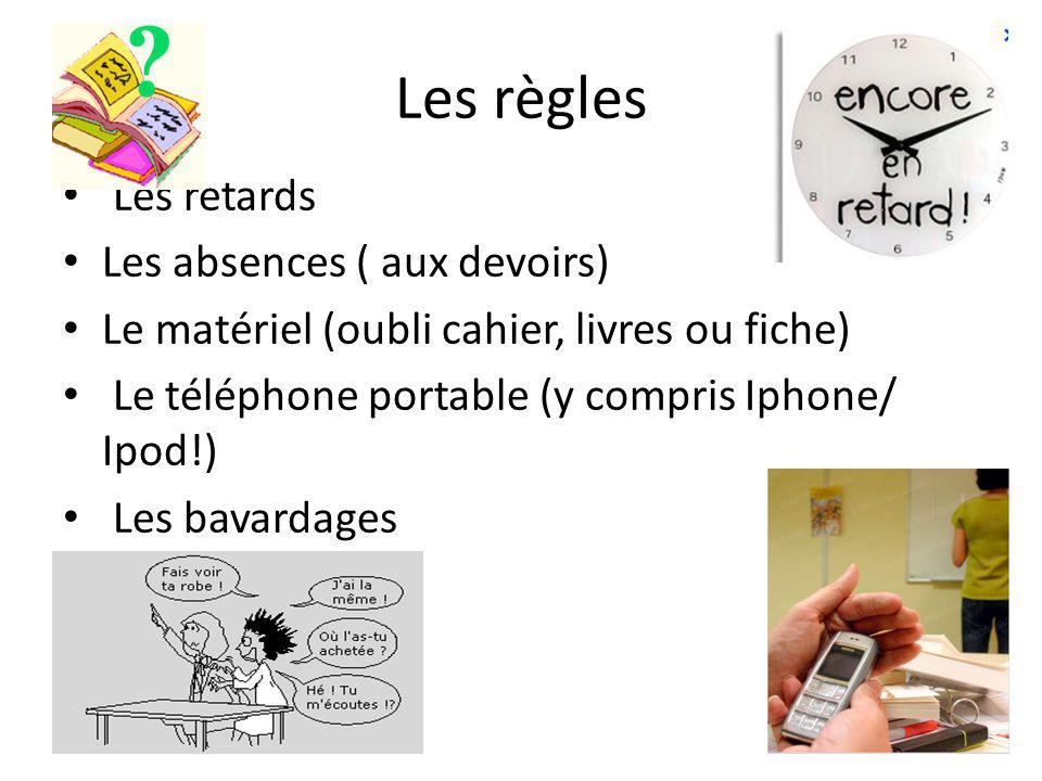 Les règles Les retards Les absences ( aux devoirs) Le matériel (oubli cahier, livres ou fiche) Le téléphone portable (y compris Iphone/ Ipod!) Les bavardages