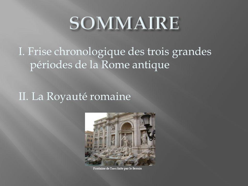 La Rome antique compte trois grandes périodes : la Royauté (-753/-509) la République (-509/-27) lEmpire (-27/476) http://www.ostia-ostie.net/