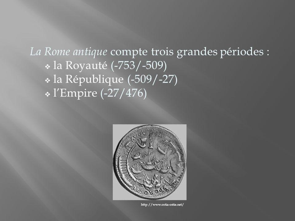 La Royauté est marquée par la fondation de Rome en -753 et par labolition de la monarchie en -509.