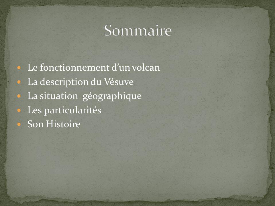 Le fonctionnement dun volcan La description du Vésuve La situation géographique Les particularités Son Histoire