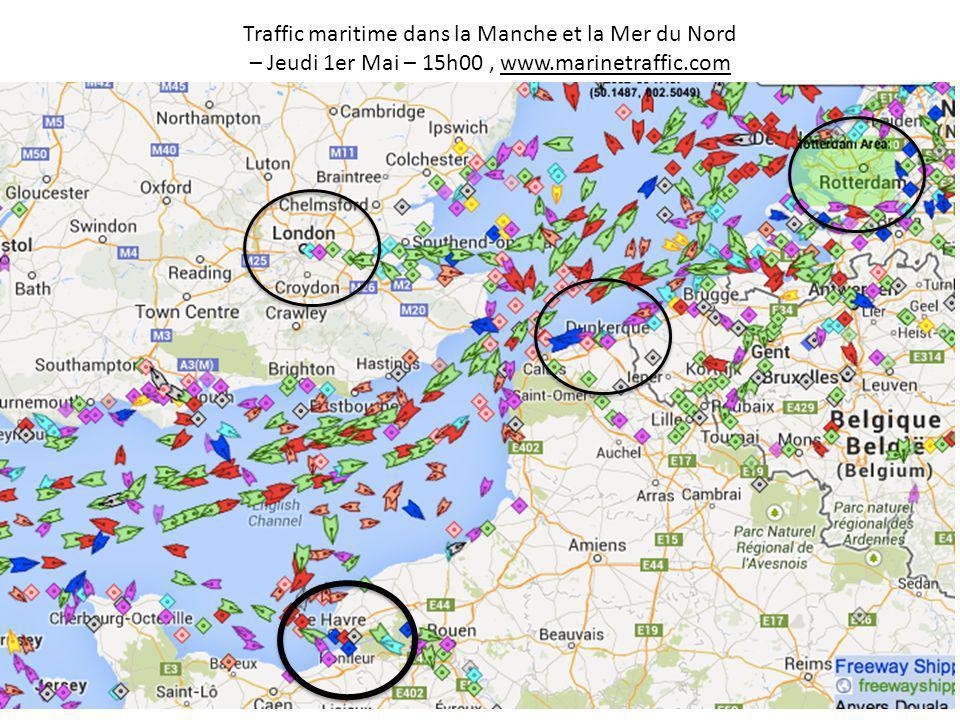 Traffic maritime dans la Manche et la Mer du Nord – Jeudi 1er Mai – 15h00, www.marinetraffic.com