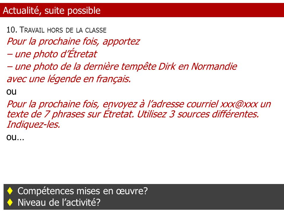 Actualité, suite possible 10.
