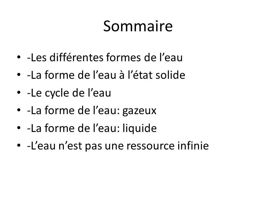 Sommaire -Les différentes formes de leau -La forme de leau à létat solide -Le cycle de leau -La forme de leau: gazeux -La forme de leau: liquide -Leau