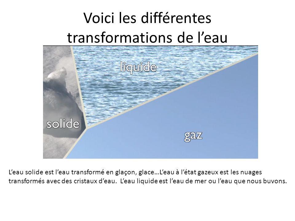 Voici les différentes transformations de leau Leau solide est leau transformé en glaçon, glace…Leau à létat gazeux est les nuages transformés avec des