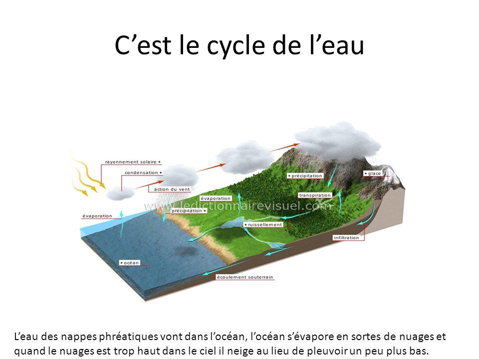 Cest le cycle de leau Leau des nappes phréatiques vont dans locéan, locéan sévapore en sortes de nuages et quand le nuages est trop haut dans le ciel
