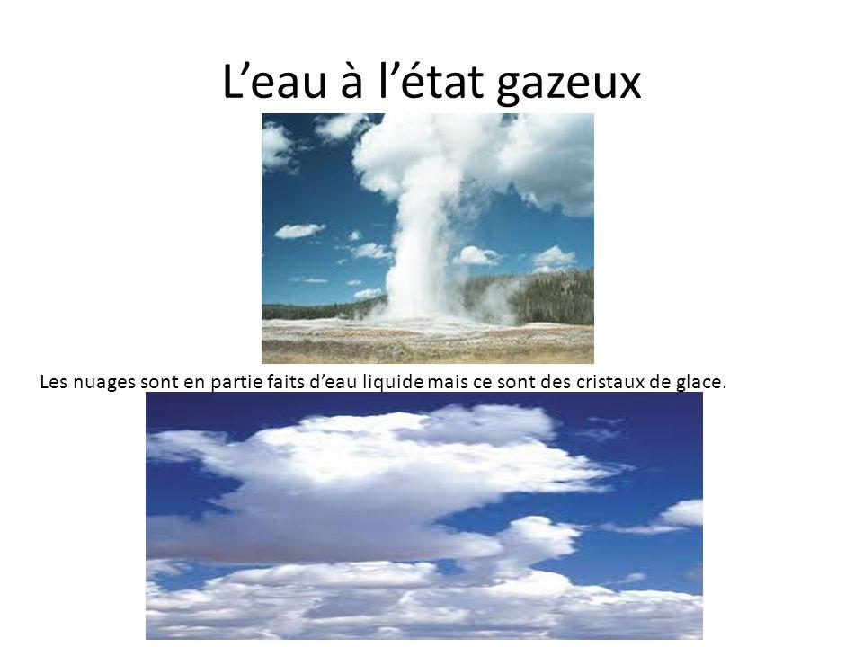 Leau à létat gazeux Les nuages sont en partie faits deau liquide mais ce sont des cristaux de glace.