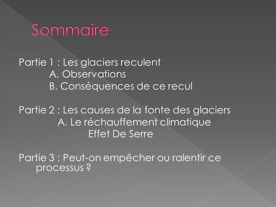 Partie 1 : Les glaciers reculent A. Observations B. Conséquences de ce recul Partie 2 : Les causes de la fonte des glaciers A. Le réchauffement climat