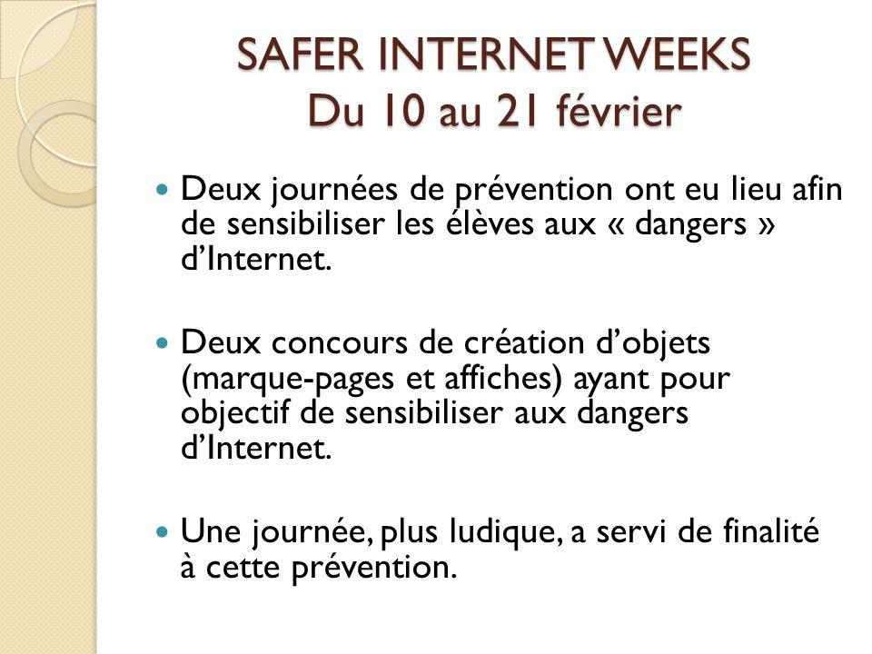 SAFER INTERNET WEEKS Du 10 au 21 février Deux journées de prévention ont eu lieu afin de sensibiliser les élèves aux « dangers » dInternet.